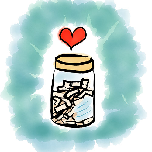 Hand drawn image of a journal jar Image by Cathy Hutchison