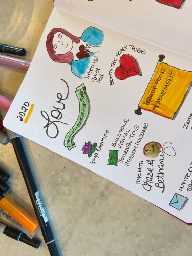 """Open bullet journal with the word """"love"""" handwritten at the top. Doodles include a lotus, a woman with a heart. a banner, and an envelope."""