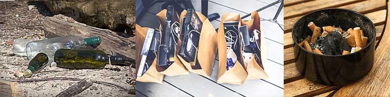 waste money empty bottles shopping spree bags cigarettes
