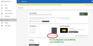 view transactions adsense payment