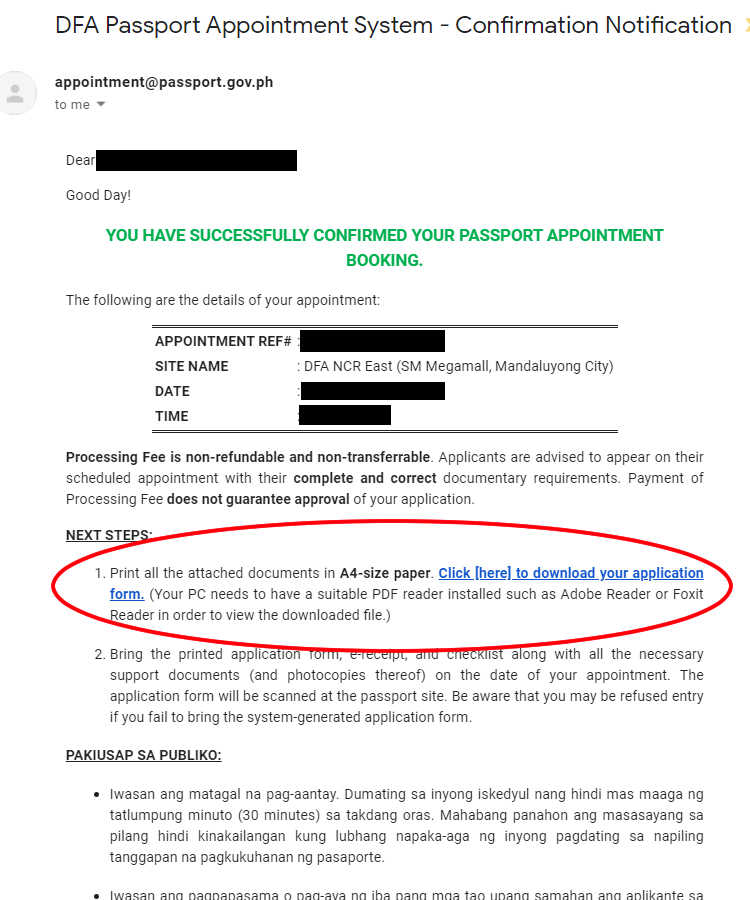 dfa passport confirmation email