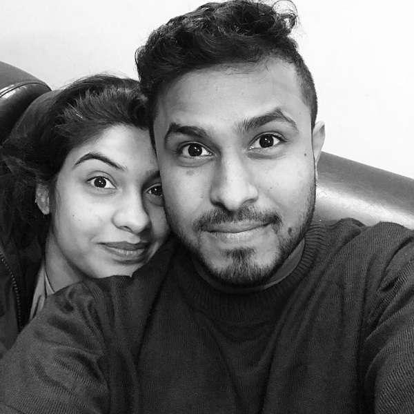 Abish Mathew with his wife Archana kavi
