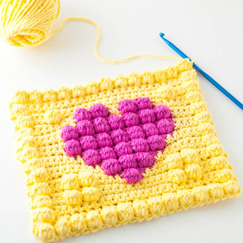 Crochet Bobble Heart Potholder | YouShouldCraft.com