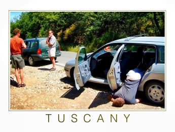 Tuscany postcard carsick