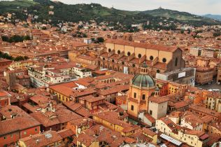 Bologna La Rossa tower view roofs