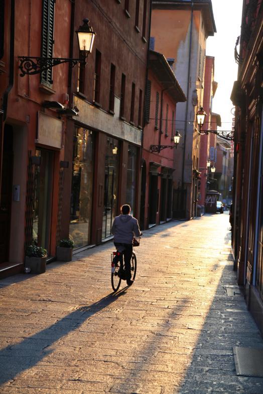 Bologna bike rider sunset