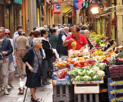 Bologna market shoppers