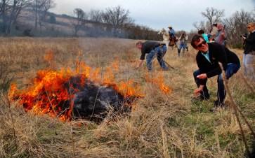 Flying W Ranch lighting fire