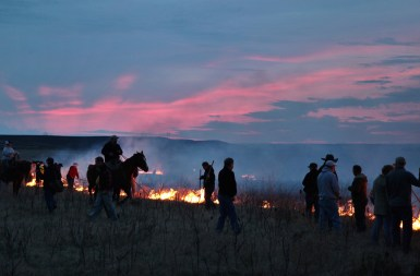 Flying W Ranch riders in flames