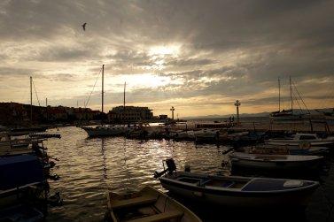 Postira port sunset