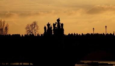 Prague crowds silhouette