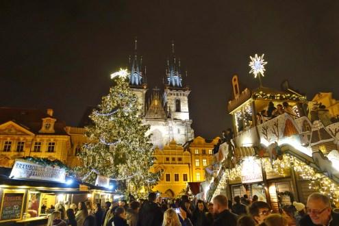 Prague square Christmas decorations