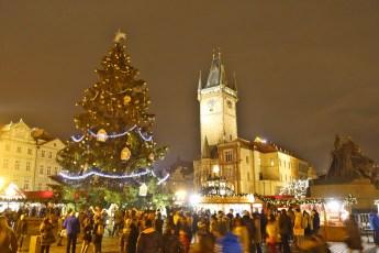 Prague square crowds
