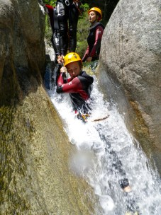 Canyoning in Corsica waterfall