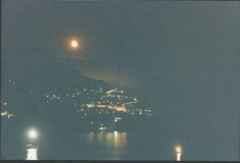 Positano at night full moon view from Casa Cosenza