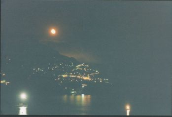 Positano at night full moon view from Casa Cosenza
