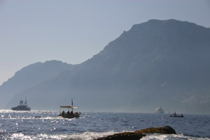 Positano boats at sunset