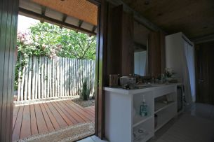 Each villa has it's own outdoor shower.