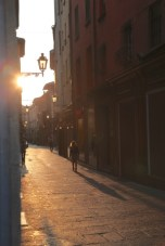 Bologna street sunset