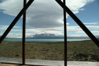 Tierra Patagonia lake view from pool