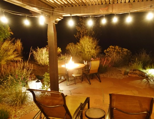Gateway Canyons casita terrace at night