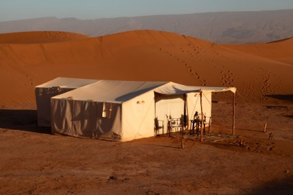 Dar Ahlam Tent Camp tent at sunrise