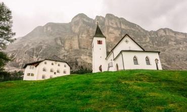 There are dozens and dozens of hikes that lead right out of San Cassiano, like this one to Santa Croce church, high up on a hill.