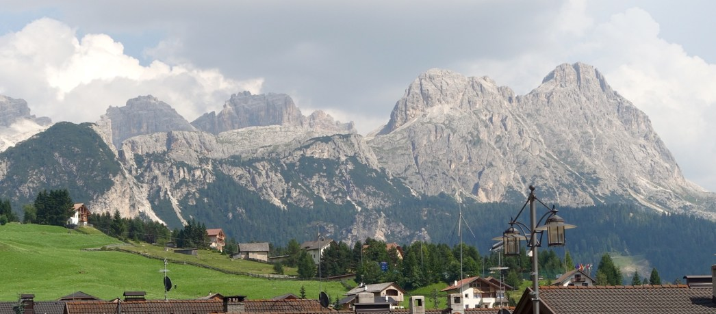 San Cassiano mountain backdrop