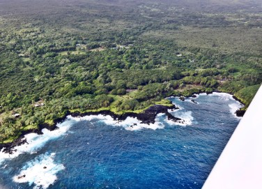 Flying over Hana black beach