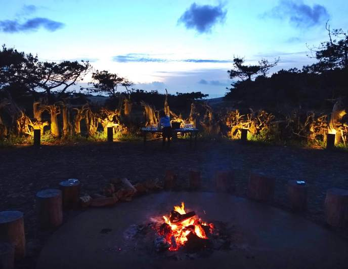 Areias do Seixo fire pit at night