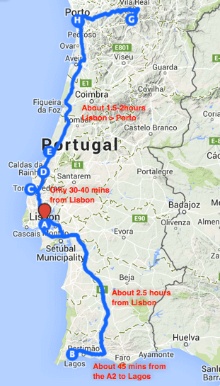 Portugal driving times
