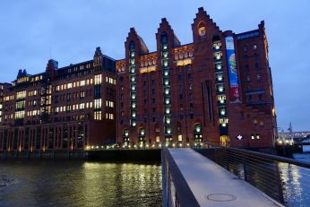 Speicherstadt warehouses at night