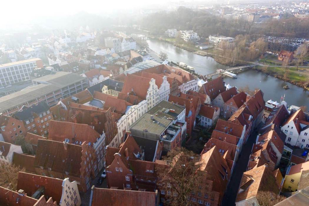 Lübeck old city view from tower