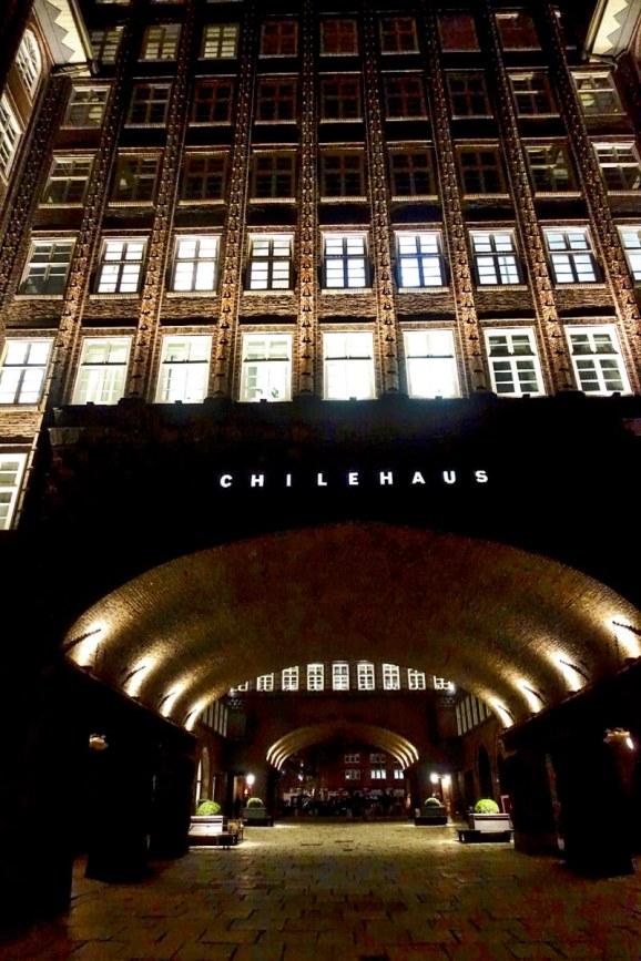Chilehaus entrance at night