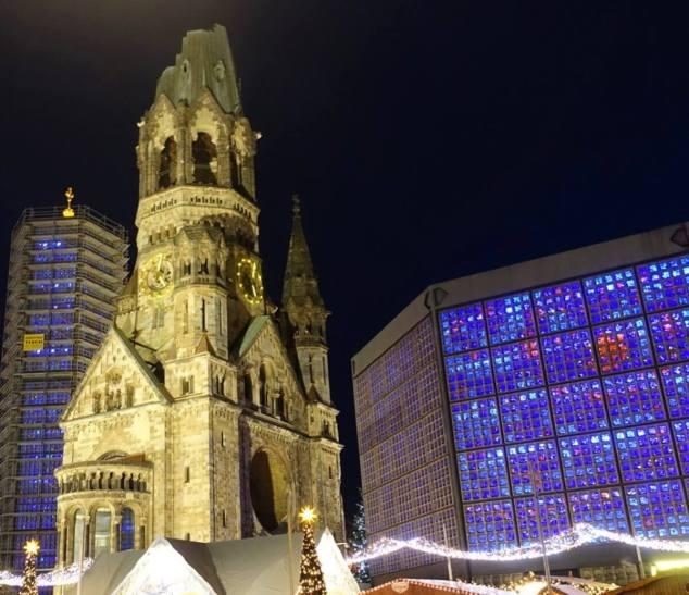 The Kaiser Wilhelm Memorial Church tower at night