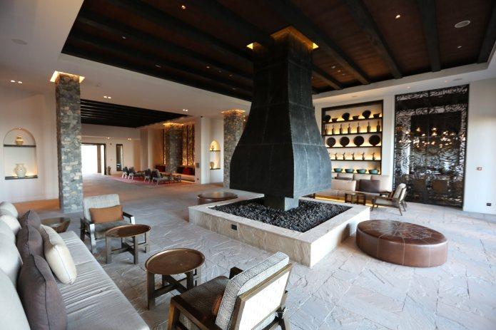 Alila lobby fireplace.