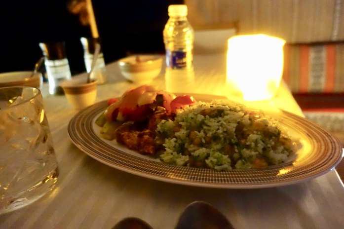 The food was really great, with starters and then a piping hot chicken and rice dish, served by candlelight. Like a lot of tent camps, this one is dry. But if you want to bring your own liquor you can. (Email them for details). I did not realize this. Might have been the first night in 20 years I didn't have a drink. 🤪