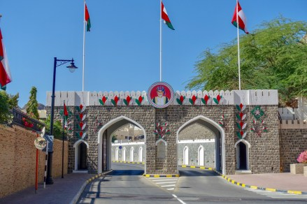 This is the main entrance gate to the palace grounds. You can park and walk around amongst all the ministry offices. There is no terrorism in Muscat. (More of the Why, below)