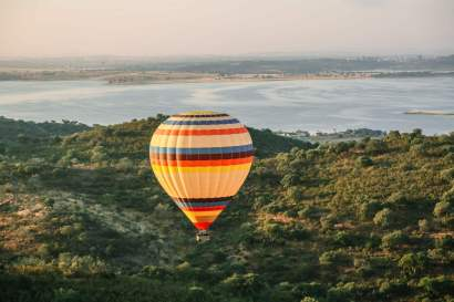 Balloon sunrise over Alqueva Reservoir