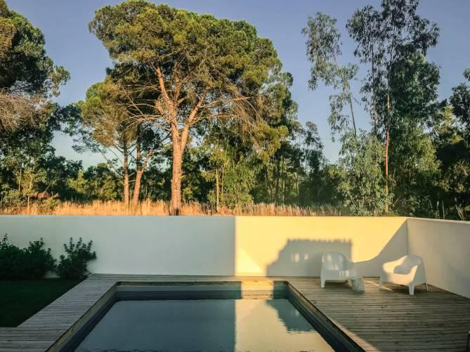 Brejos Villa Comporta pool at sunset
