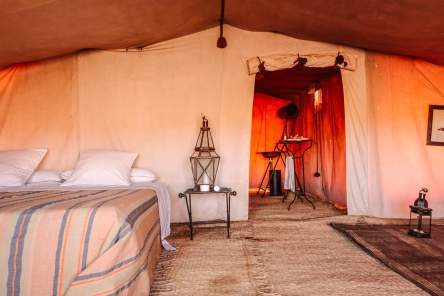 Each tent has its own en suite bathroom, with flushing camp toilet and shower, water heated by the sun.
