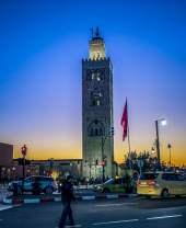 mosque at dusk Marrakesh