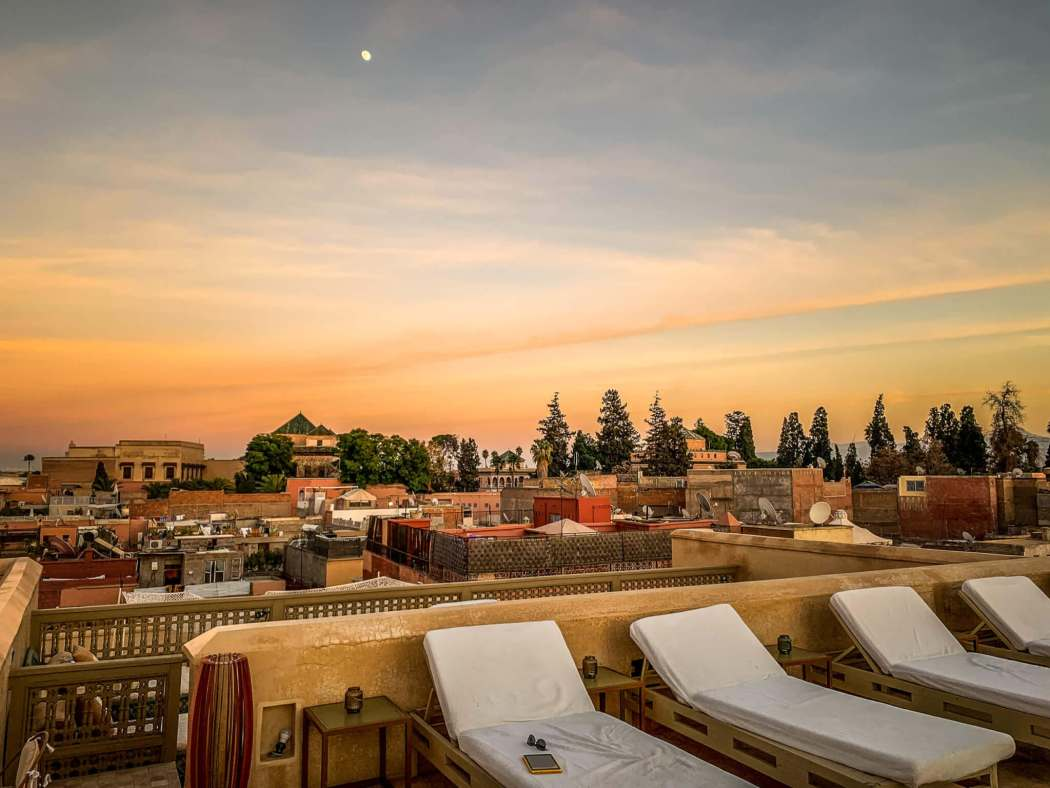 Riad 72 rooftop at sunset