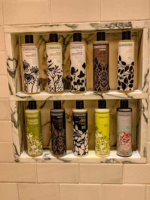 Apparently, Cowshed spa downstairs products are a big deal. All of these flavors are in the shower.