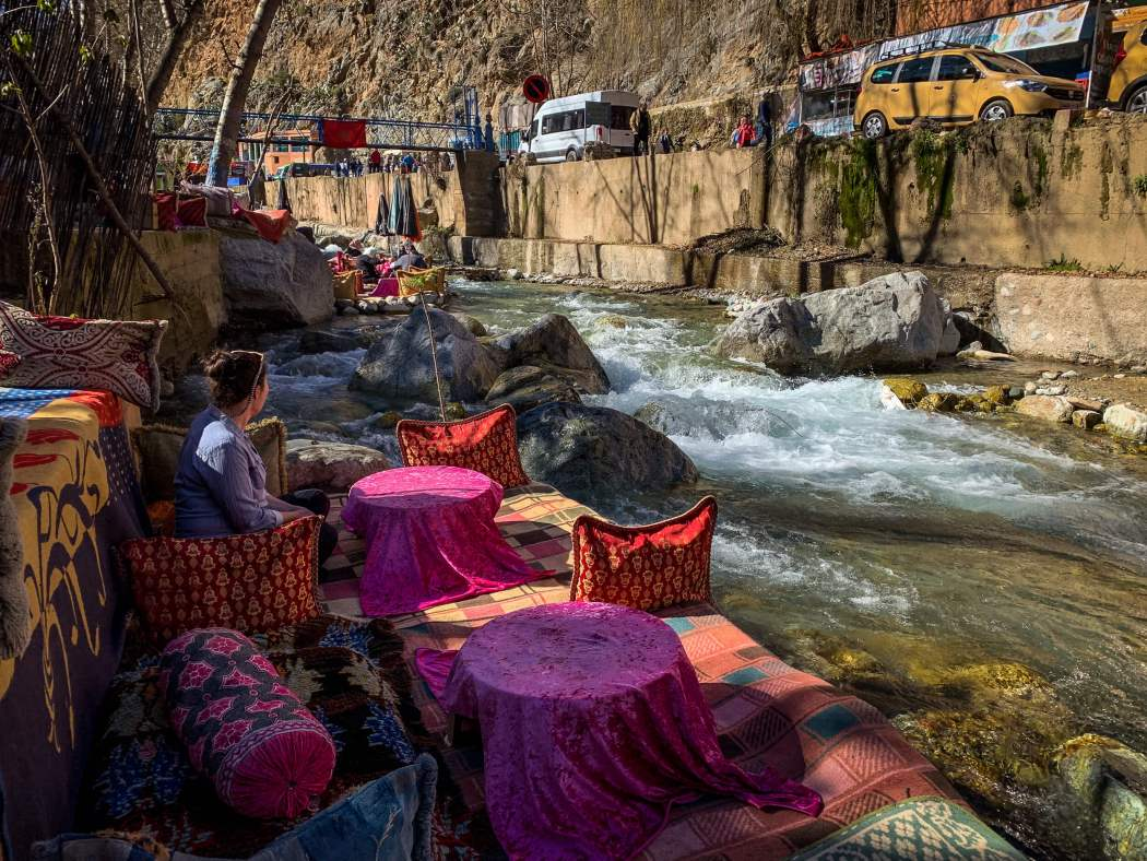 Dining by river Setti Fatma Ourika Valley Morocco