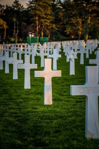 Normandy American Cemetery cross in sun