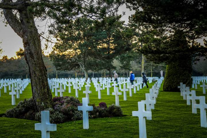Normandy American Cemetery walking graves