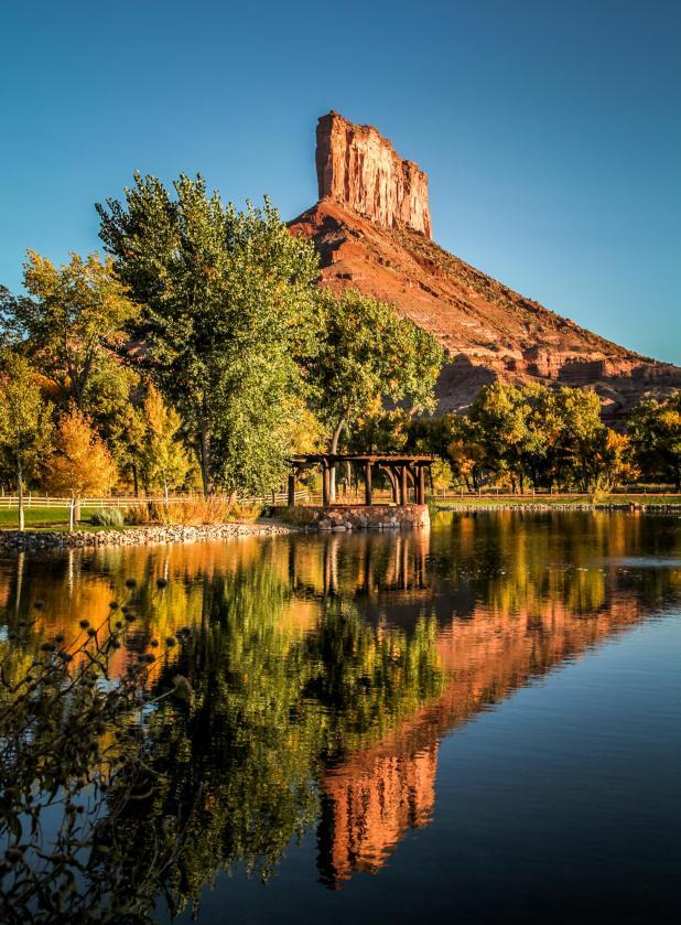 Gateway Canyons pond reflection