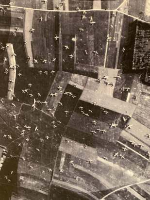 You hear a story and its one thing. You see a real photo and the massive scale just blows your mind. Look at all of the no-powered wooden gliders, all coming down and crash landing in such a small, tight area.