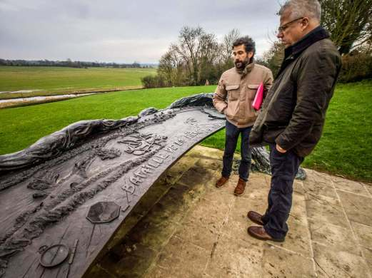 This was the site of the battle at La Fiere bridge over Le Merderet river. This cool plaque sheathed in a folded parachute, has an intricate map of the battle and 3D depiction of what happened here.